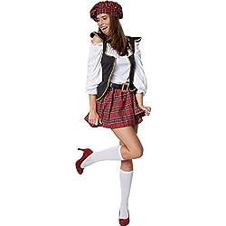 dressforfun 900421 - Disfraz de Mujer Chica Escocesa, Disfraz escocés Sexy con Falda de Cuadros (XL | No. 302068)