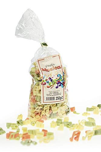 Monsterzeug Pasta Musica, bunte Noten-Nudeln, witzige Pasta Musiknoten, Hartweizennudeln 3-farbig, Violinschlüssel, Sechzehntelnote, Kreuz, 250 Gramm