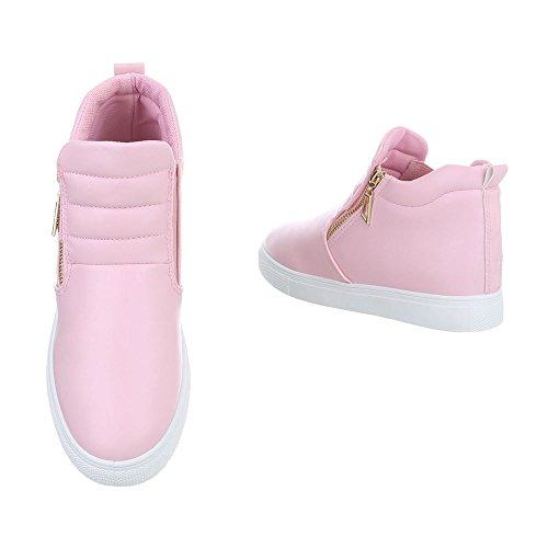 Ital-Design Sneakers High Damenschuhe Sneakers High Sneakers Reißverschluss Freizeitschuhe Pink D16-1