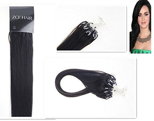 Style 66 cm facile Boucles Micro anneaux perles à pointe 100% naturels Extensions de cheveux humains Cheveux raides Couleur 1B noir avec Brun Beauté Motif salon