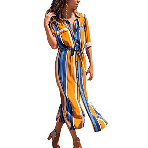 Amlaiworld Vestido Largo Fiesta Mujer Primavera Verano 2019 Vestido de Camisa Larga de Manga Larga de Rayas Verticales de Mujer Cintura de Corbata Vestidos de Playa