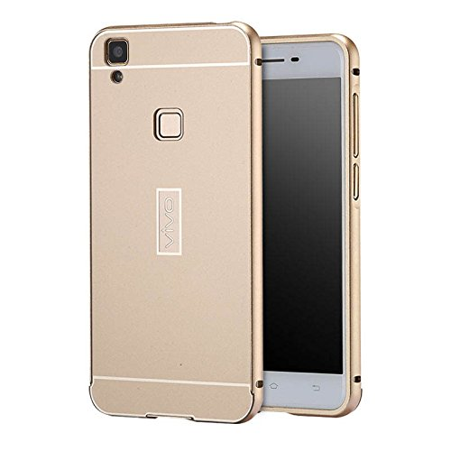 Wow Imagine (TM) Premium Luxury Mirror Acrylic Back + Metal Case Cover for VIVO V3 - Gold