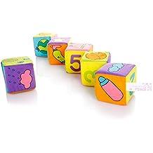 Dopobo —Bloques Blandos de aprendizaje, Siete centímetros bloques de tela con sonajeros,6 piezas,