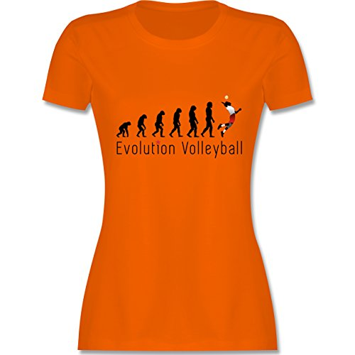 Evolution - Volleyball Evolution - tailliertes Premium T-Shirt mit Rundhalsausschnitt für Damen Orange