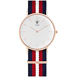 Faber No.1 Series F705RG Watch Unisex rose gold Nato Strap Blue Red White