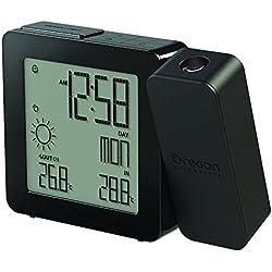 Oregon BAR-368-P - Reloj Despertador con Doble Alarma (Proyección de Hora, Temperatura y pronóstico del Tiempo), Negro