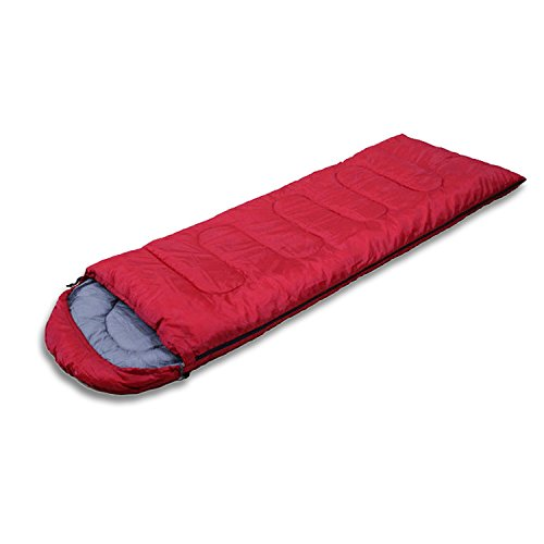 MINMINA Outdoor Schlafsack Outdoor Decke Decke Kapuze Schlafsack Erwachsenen Schlafsack Frühling, Sommer und Herbst DREI Jahreszeiten Outdoor Decke 180 + 30 * 75cm, rot