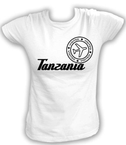 Artdiktat T-Shirt Tanzania Visited Damen, Größe L, weiß