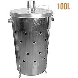 Linxor France ® Incinérateur de jardin en acier galvanisé 100 L - Norme CE