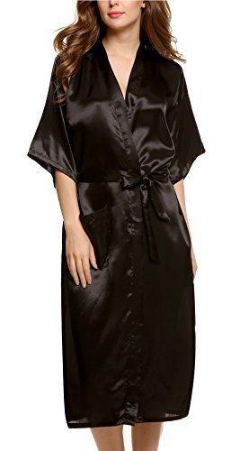 Avidlove Donna Kimono Raso Vestaglia Camice da notte con cintura, Stile Lungo