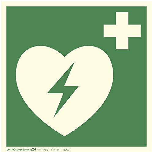 Betriebsausstattung24 1000046 Erste-Hilfe-Schild Rettungszeichen Automatisierter Externer Defibrillator (AED) ASR A1.3 ISO 7010 E010 Folie (klebend) langnachleuchtend DIN 67510 Klasse C, 15 x 15 cm -