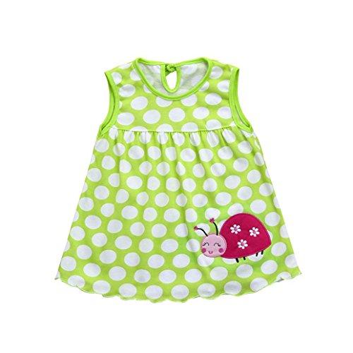 Kleid Baby Blumen Print Cartoon Weiß, Riou Babykleid Baby Trägershirt Kleid Kleinkind-Nette Baby-Baumwollblumen-Kind-Punkt-Gestreifte T-Stücke kleiden T-Shirt Weste (0-24M, Grün H)