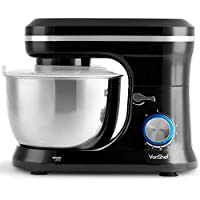 Black Stand Mixer - VonShef 1000W Black Food Stand Mixer – 4.5 Litre Mixing Bowl with Splash Guard - Includes Beater, Dough Hook & Whisk