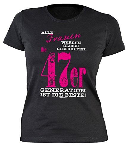 70 Geburtstag Damen Tshirt - Frauen 70 Jahre T-Shirt : Alle Frauen …. 47er Generation ist die Beste -- Geburtstagsshirt 70 Damenshirt Schwarz