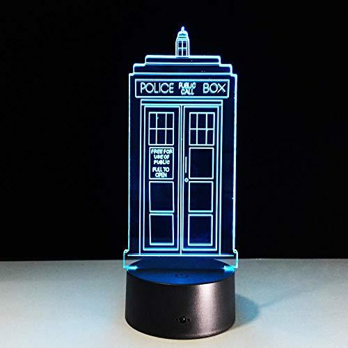 HLDWMX 3D Nachtlicht Optische Täuschung Statue Licht Illusionslampe Kind Polizei Tischlampe Schlaf leicht Tier USB 7 farben Junge Mädchen Fernbedienung Berühren Sie Geschenk Weihnachten LED (Polizei-statue)