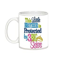 Gift For Rakhi Brother/Sister - AllUPrints This Little Brother Is Protected White Ceramic Coffee Mug - 11 Oz