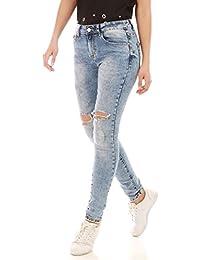 La Modeuse - Jeans délavé et effet usé