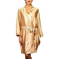 Dolamen Unisex Mujer Hombre Vestido Kimono Satén, Camisón para Mujer, Lujoso Robe Albornoz Dama