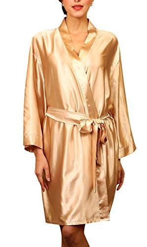Dolamen Unisex Damen Herren Morgenmantel Kimono, Satin Nachtwäsche Bademantel Robe Kimono Negligee Seidenrobe locker Schlafanzug, Büste 132cm, 51,97 Zoll, große Größe für alle (Gold)
