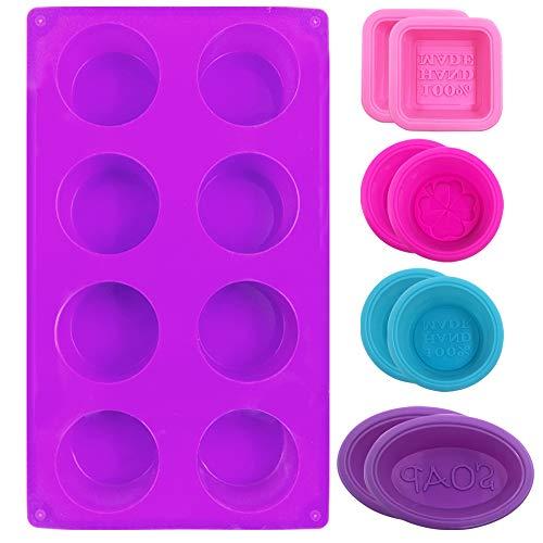 FineGood - Moldes de silicona para hacer jabones y magdalenas (9 unidades), color rosa, azul, rosa y morado