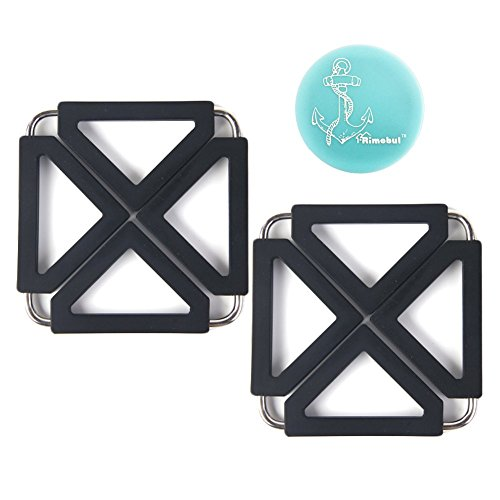 Hot Plate Holder (rimobul verstellbar Silikon Metall Topfuntersetzer Hot Pot Halter Pads, 2Stück schwarz)