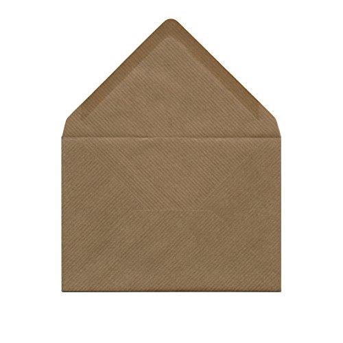 50 Kraftpapier-Umschläge (braun, gerippt, 114 x 162 mm, C6) - passend für DIN A6 Karten