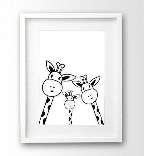 Kinderzimmer-Poster ungerahmt, Familie Giraffe Selfie, schwarz weiß