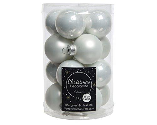 Christmas decorations - Lot de 16 mini boules de noel blanc - Taille D 3,5 cm