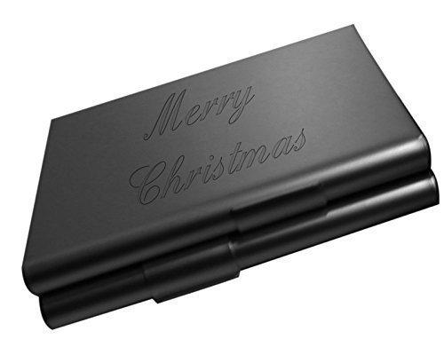gravé Joyeux Noël Noir CIGARETTE ETUI AVEC noirs velours Cadeau Pochette €\\