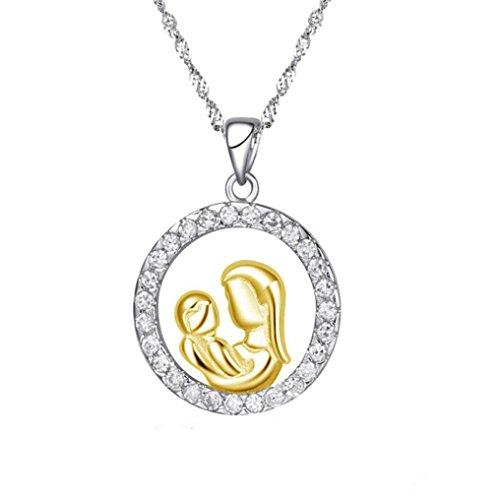 Zolimx Halskette Muttertags Neue Geschenke Silber Mosaik Zirkon Schmuck (Gold)