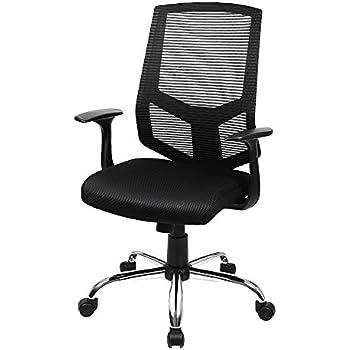 songmics fauteuil de bureau chaise pour ordinateur dossier haut hauteur r glable noir obn84bk. Black Bedroom Furniture Sets. Home Design Ideas