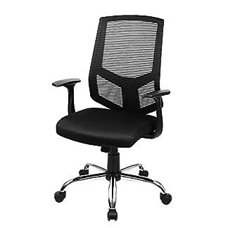 SONGMICS Silla giratoria de oficina Silla de escritorio de malla Altura ajustable con Función de inclinación Negro OBN84BK