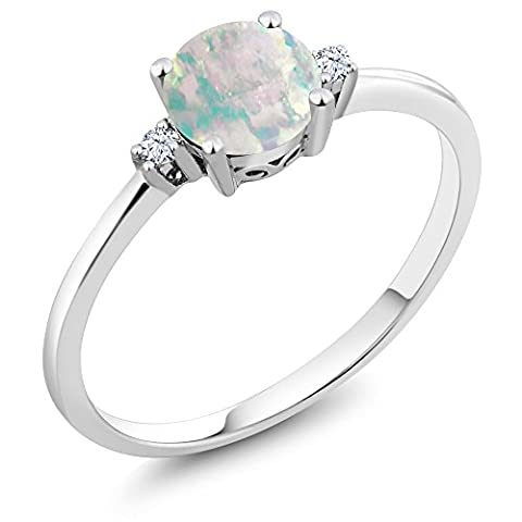 10K White Gold Ring Round Cabochon White Opal White Created Sapphire (0.33 cttw)