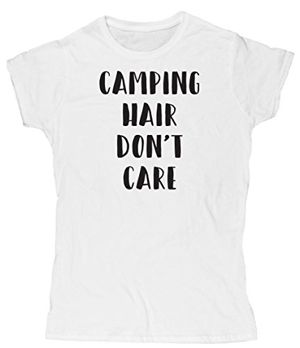 Hippowarehouse Camping Hair Don't Care Womens Fitted Short Sleeve t-Shirt (Specific Size Guide in Description)