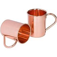 Set di 2 - Rame Prisha India Craft ® Tazza a Mosca Muli 450 ML / 15 oz - 100% di rame puro - laccato Fine Mule Cup, Moscow Mule Cocktail Cup, rame tazze, Tazze Cocktail