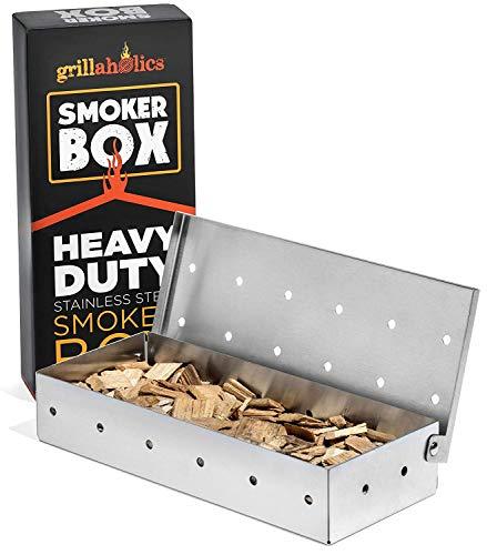 grillaholics Smoker Box, # 1Fleisch Raucher Box in Grill Grillen Zubehör, hinzufügen Smokey BBQ GESCHMACK auf Gas-Grill oder Holzkohlegrills mit diesem Edelstahl Holz Chip Räucher Box -
