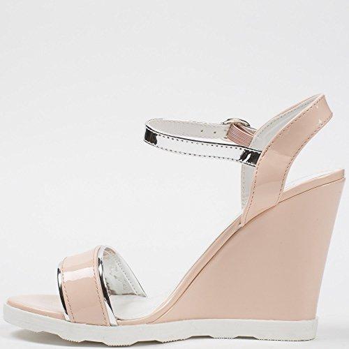 Ideal-Shoes Sandali sovrapposizione e compensate con flangia Lalitha, colore: argento Beige (Beige)