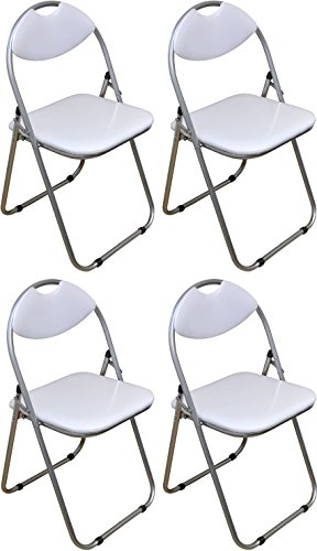 Harbour Housewares White Padded, Folding, Desk Chair - Pack of 4