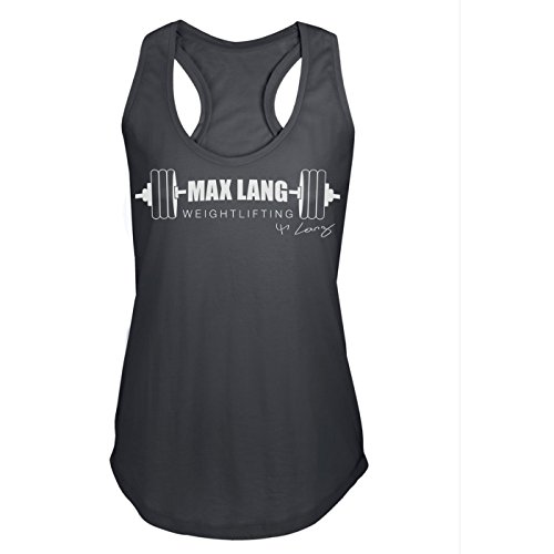 GO HEAVY Mujer Racerback Tank Top - Max Lang Weightlifting - Dark Grey S