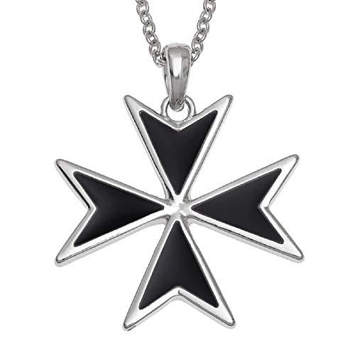 Collana con croce maltese intarsiata con madreperla o conchiglia di abalone, per fede cristiana, confezione regalo e nessuno, colore: Black Enamel, cod. MALTESE