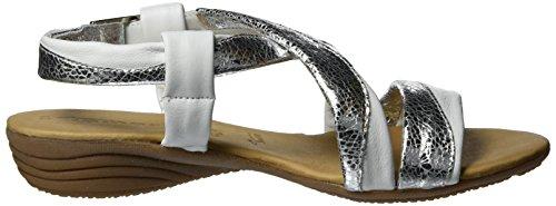 Tamaris 28130, Sandali con Zeppa Donna Bianco (White/silver 191)