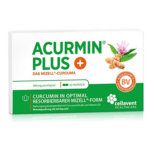 Kurkuma Kapseln hochdosiert von Acurmin PLUS: Das Mizell-Curcuma (Curcumin) - C14-Zertifiziert - OHNE Piperin/Bioperin/Pfeffer von Cellavent Healthcare - 60 Kapseln natürliches Kurkuma