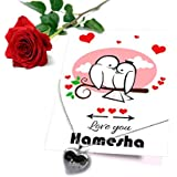 TIED RIBBONS Gift For Wife Birthday Romantic Love You Hamesha Printed Greeting Card With Locket And Red Rose