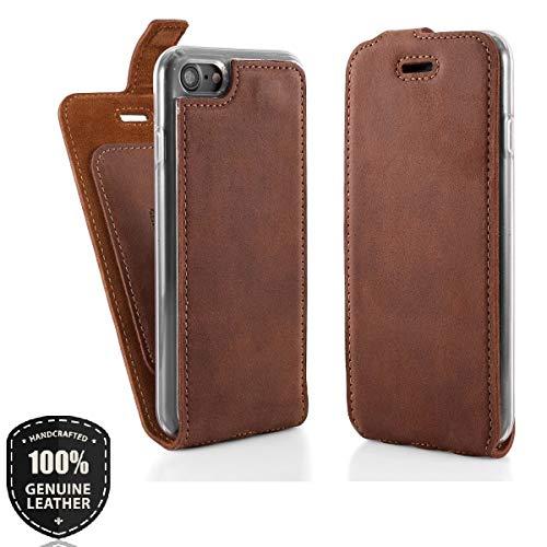 SURAZO Flip - Vertikal Ledertasche Schutzhülle Flip Case Hülle aus Nubukleder und Veloursleder (Nussbraun) für Apple iPhone 8 Plus