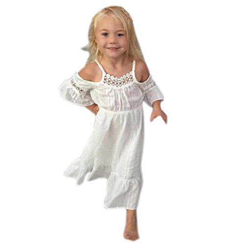 Beikoard Niña Vestido Liquidación, Temperamento Chicas Vestido de Princesa niños Bebe Parte Desfile Ropa Encaje Boda Vestidos Largos (100cm/24M, Blanco)