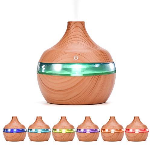 TOLOYO Humidificador Aceites Esenciales, USB Eléctrico Aromaterapia Aire Humidificador Madera Grano 7 Color Aceite Esencial Aroma Difusor con luz LED (300 ML)