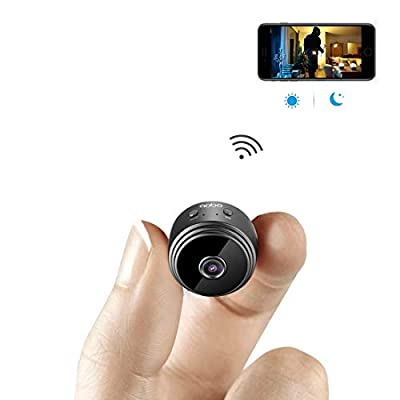 aobo Mini Spy Camera WiFi Hidden Camera Wireless HD 1080P Indoor Home Small Spy Cam Security Cameras/Nanny Cam Built-in Battery with Motion Detection/Night Vision For iPhone/Android Phone/iPad/PC