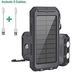Batterie Externe Solaire 10000mAh, Chargeur Solaire avec Deux Lampes LED, Imperméable en Plein Air Double Sortie USB pour iPhone, iPad, Smartphone et Tablette, etc.