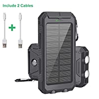Power Bank Solar Charger 10000mAh Portable External Backup Battery Pack Dual USB Solar Phone Charger with 2LED Light for iPhone, iPad, Samsung, Android and other Smart Devices 1