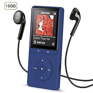 16GB Lossless MP3 Player mit Fernbedienung Kopfhörer, Unterstützung FM Radio und Aufnahmen max 70 Stunden Wiedergabezeit Musik Player, Dunkelblau, AGPTEK